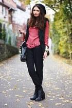 salmon Primark blouse - black Zara vest