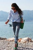 chartreuse lookbookstore bag - blue H&M jeans - chartreuse Nelly pumps