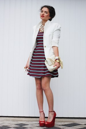 brick red Carvela wedges - brick red Motel Rocks dress - eggshell Zara blazer