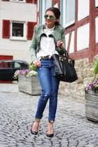 black Prada bag - green ray-ban sunglasses - black Guess pumps