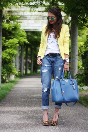 blue Prada bag - yellow Sheinside blazer
