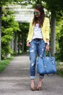 Yellow-sheinside-blazer-blue-prada-bag