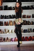 black French Connection heels - black inlovewithfashion dress - gold Zara bag