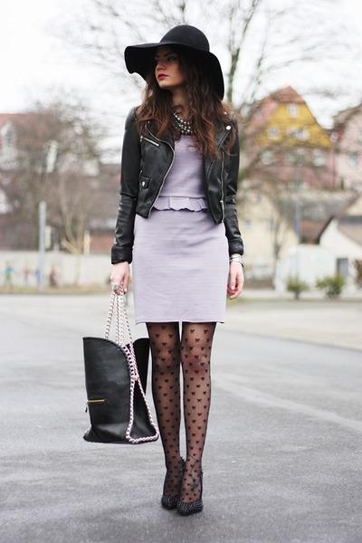 violet inlovewithfashion dress - black romwe bag - black Buffalo pumps