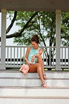 peach Rebecca Minkoff bag - periwinkle Sheinside shorts