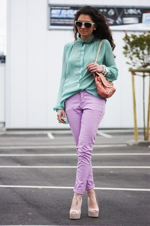 light purple Oasis jeans - salmon romwe bag - beige Steve Madden pumps
