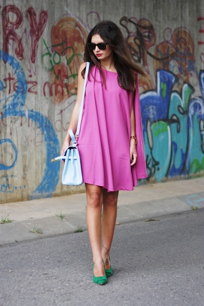 hot pink Nelly dress - blue vintage from Ebay bag - chartreuse Nelly heels