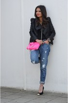 black I love Shoes shoes - blue Pimkie jeans - black lookbookstore jacket