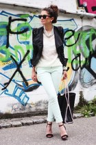 black lookbookstore jacket - light blue Oasis jeans - black romwe bag