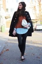 black New Yorker coat - burnt orange H&M sweater