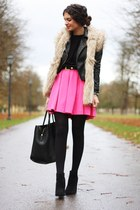 hot pink H&M dress - black H&M jacket - black VJ-style bag