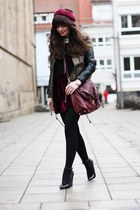 black lookbookstore jacket - crimson OASAP shirt - brick red Michael Kors bag