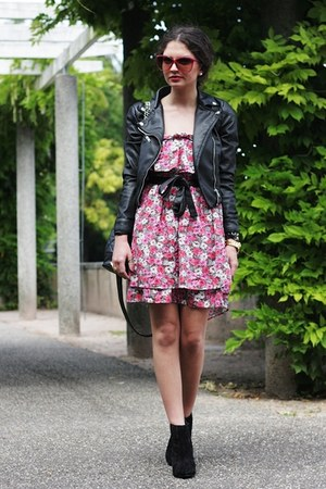 hot pink Zara dress - black asos boots - black H&amp;M jacket - black Primark bag