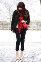 black lookbookstore coat - black Diesel jeans - red Love Moschino bag