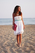 white Zara dress - hot pink romwe bag - aquamarine romwe belt