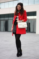 ruby red Primark coat - white Love Moschino bag