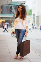 blue Oasis jeans - light pink Zara jacket - eggshell Moschino bag