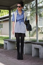 blue H&M blouse - black Zara skirt - black new look wedges