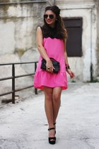 hot pink lookbookstore dress - black Steve Madden heels