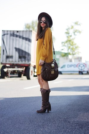 mustard H&M dress - brown Bruno Premi boots