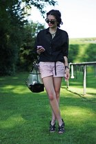 black Zara bag - bubble gum Primark shorts - black H&M blouse - black Primark we