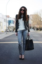 black romwe jacket - black VJ-style bag