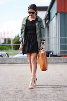 black Naf Naf dress - olive green Primark jacket - tawny VJ-style bag