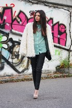 eggshell StylebyMarina coat - aquamarine Primark blouse - black H&M pants