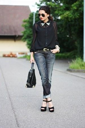 black VJ-style bag - dark gray Diesel jeans - black Steve Madden pumps