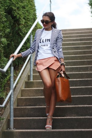 white DIY shirt - salmon Sheinside shorts - dark brown Miu Miu sunglasses