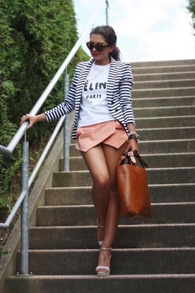 white DIY shirt - salmon Sheinside shorts - dark brown Miu Miu sunglasses