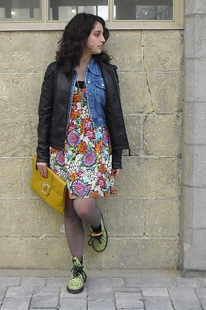 lime green Dr Martens shoes - multicolor Victorias Secret dress - black leather