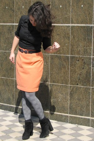 black asos boots - black Mango shirt - peach thrifted skirt