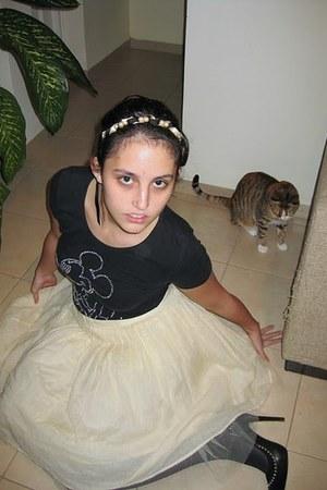 eggshell worn as skirt Forever 21 dress - white yorktownroad purse - black fake