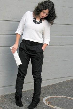 ivory Forever 21 sweater - ivory yorktownroad bag - black high waisted H&M pants
