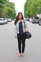 navy Anthropologie top - beige collection b jacket - black Anthropologie pants