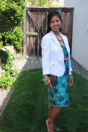 blue J Crew dress - white banana republic blazer - brown Louis Vuitton bag