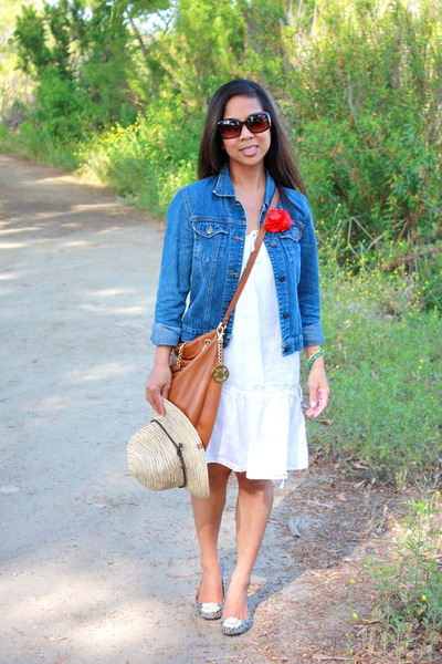 navy abercrombie and fitch jacket - white J Crew dress - brown Michael Kors bag