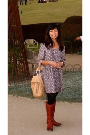 Fryes boots - Zara dress - camel Barneys New York purse - Nordstrom Rack necklac
