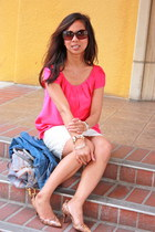 white Forever 21 skirt - hot pink Forever 21 top - light brown J Crew pumps