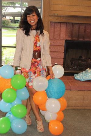 orange florals f21 dress - Charlotte Russe jacket - whitebrown f21 belt - bracel