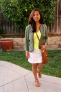 Yellow-victorias-secret-shirt-army-green-anthropologie-jacket