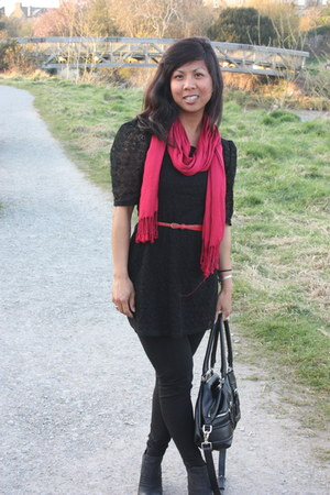 black lace A-wear dress - black J Crew leggings - black Cole Haan bag - red Nord