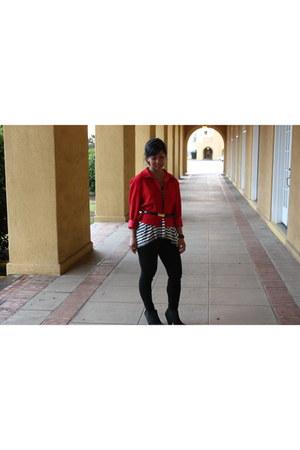 black Nordstrom Rack boots - black J Crew leggings - red thrifted blazer - Anthr