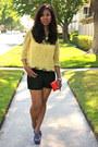 Black-forever21-shorts-yellow-forever-21-blouse