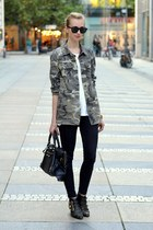 army green Zara blouse - black Topshop jeans - black balenciaga bag
