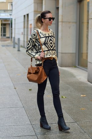 white Sheinside sweater - black Topshop jeans - dark brown Zara bag