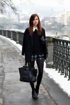black vagabond boots - black Choies coat - black Celine bag - gray Choies shorts