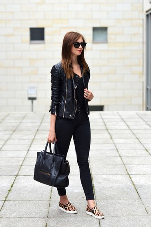 black Topshop jeans - black Sheinside jacket - black Celine bag