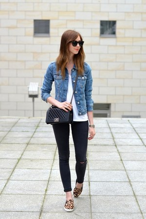 blue Mango jacket - black Topshop jeans - black Chanel bag
